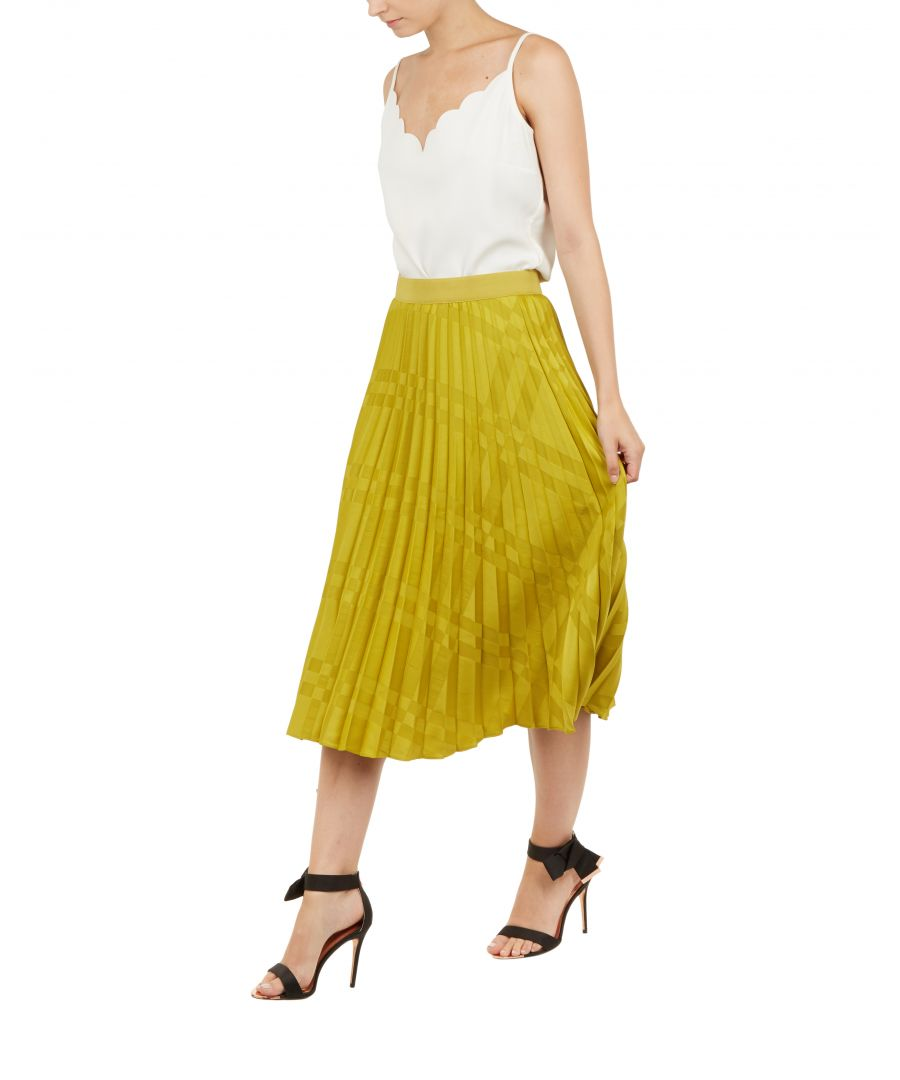Image for Ted Baker Kkoreli Pleated Satin Midi Skirt, Light Green