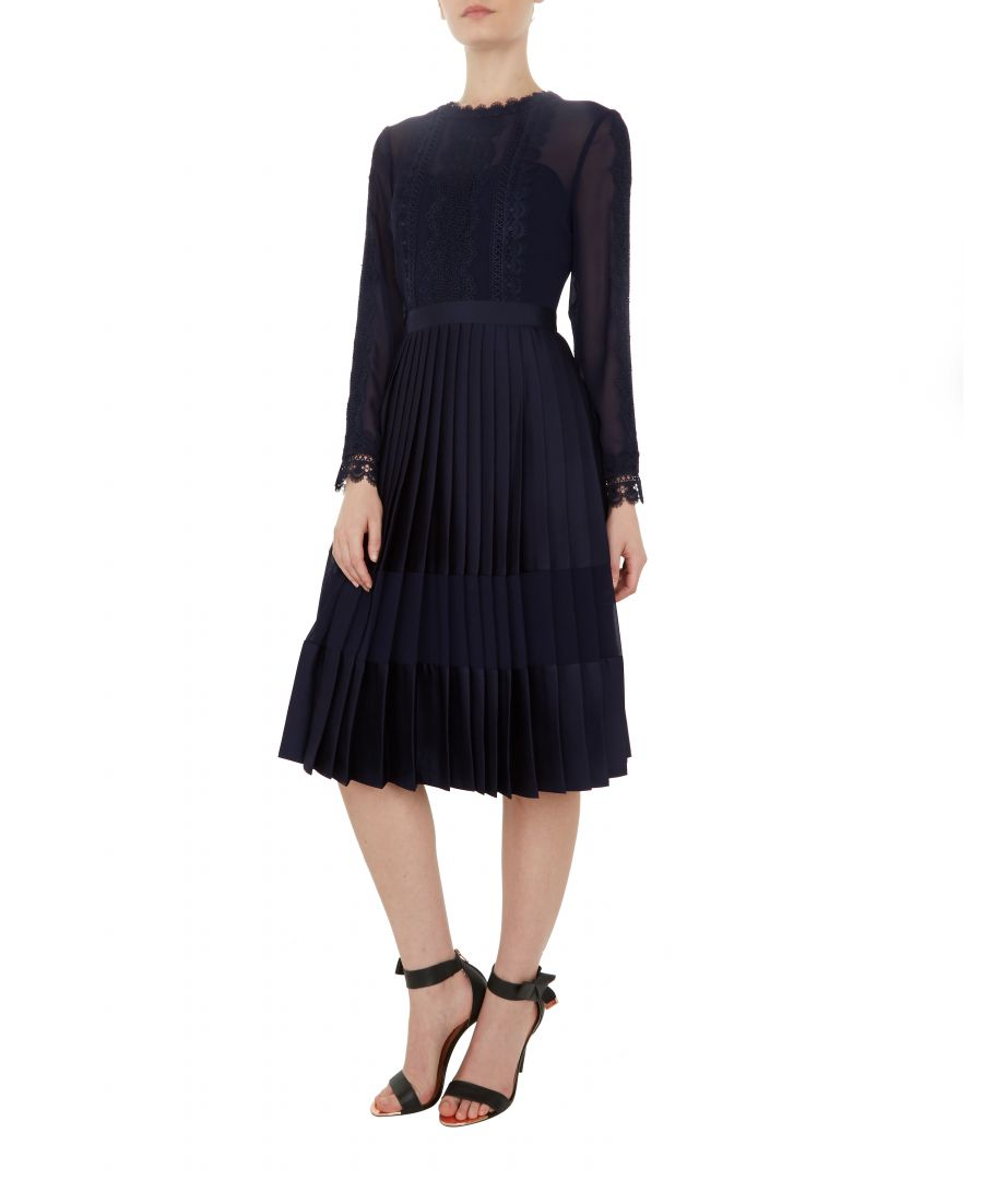 Image for Ted Baker Looez Lace Trim Pleated Midi Dress, Navy