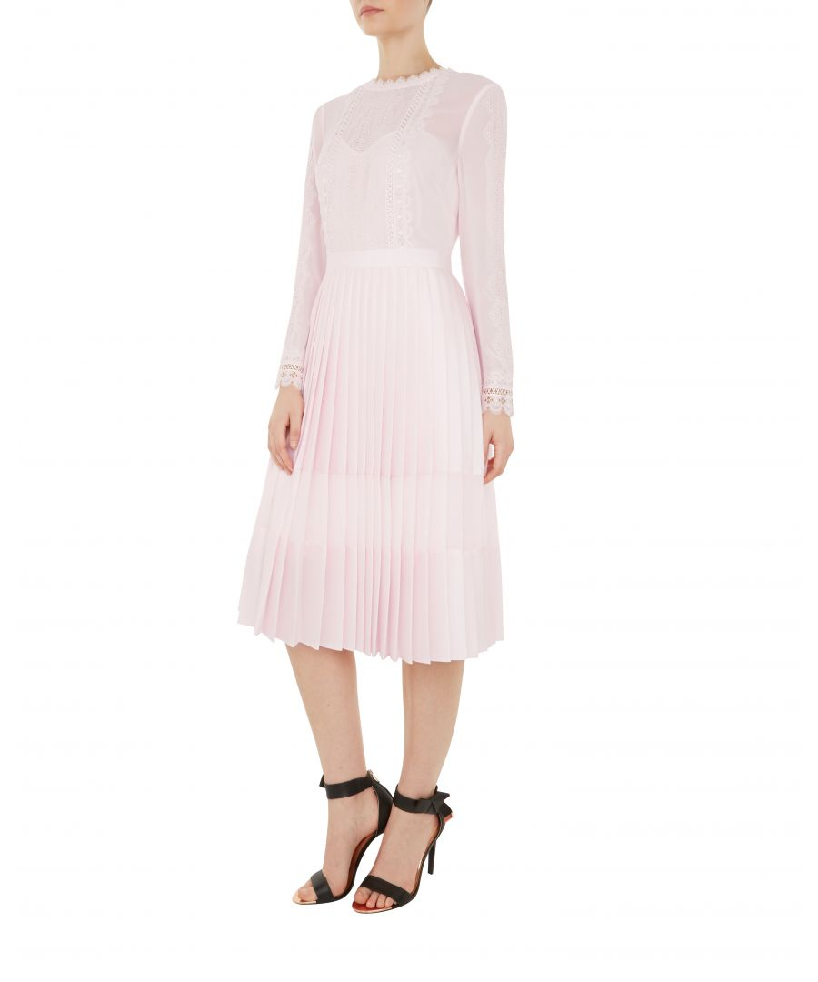 Image for Ted Baker Looez Lace Trim Pleated Midi Dress, Nude Pink
