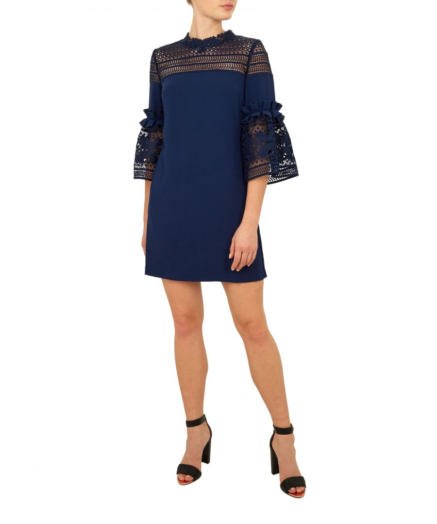 Image for Ted Baker Lucila Lace Panel Bell Sleeve Tunic, Navy