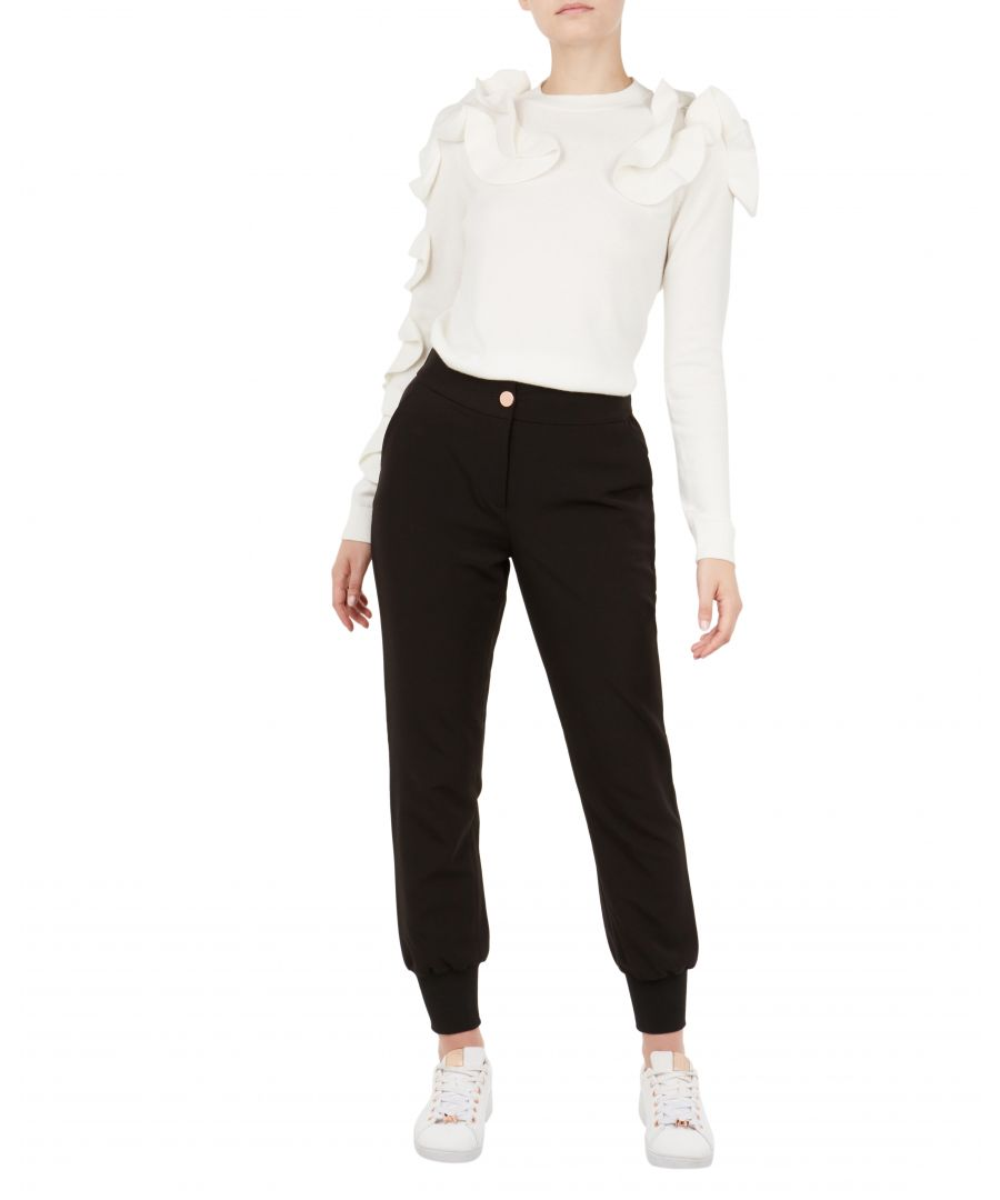 Image for Ted Baker Mmargot Ribbed Cuff Relaxed Trouser, Black
