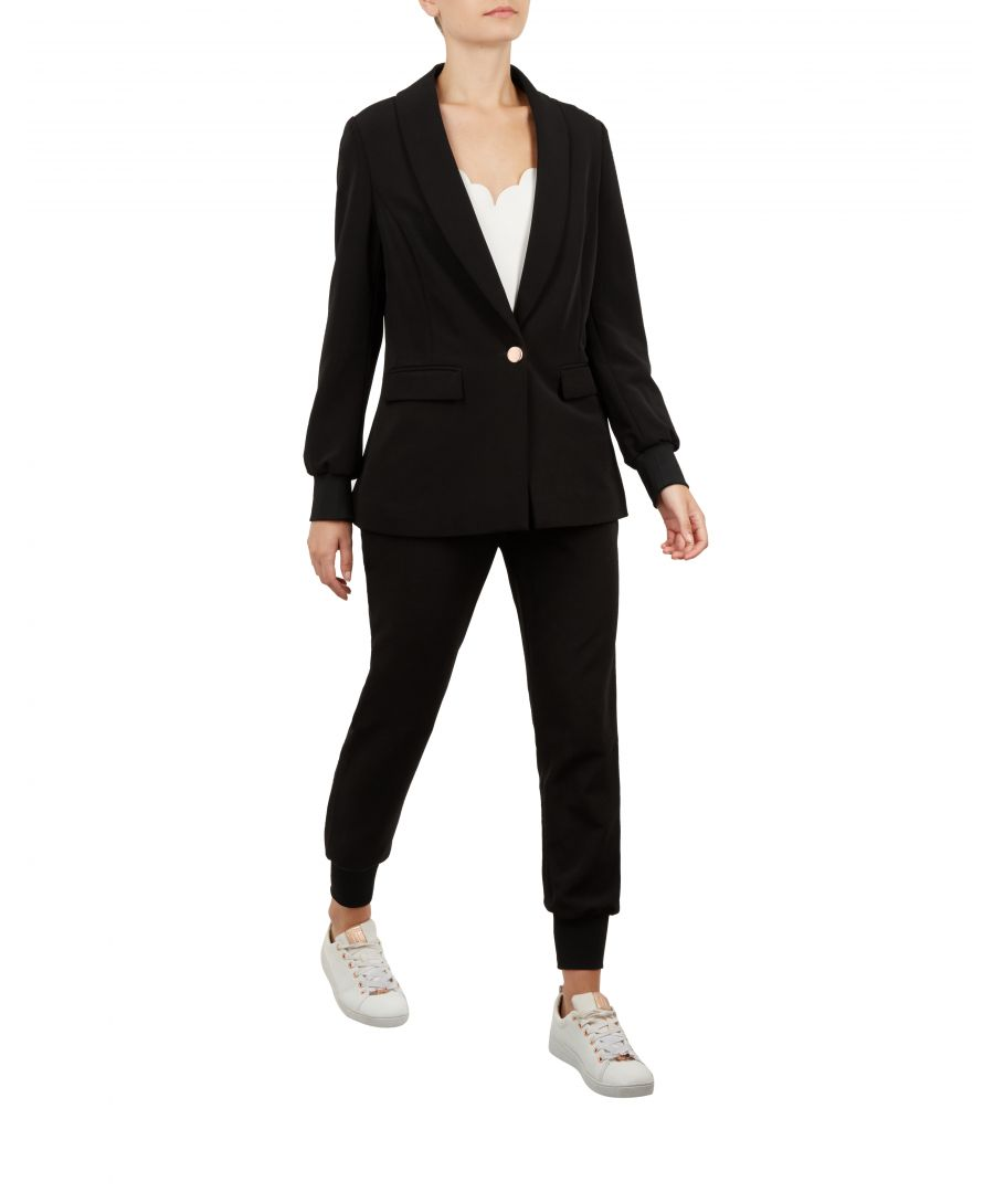Image for Ted Baker Mmargo Ribbed Cuff Tailored Blazer, Black