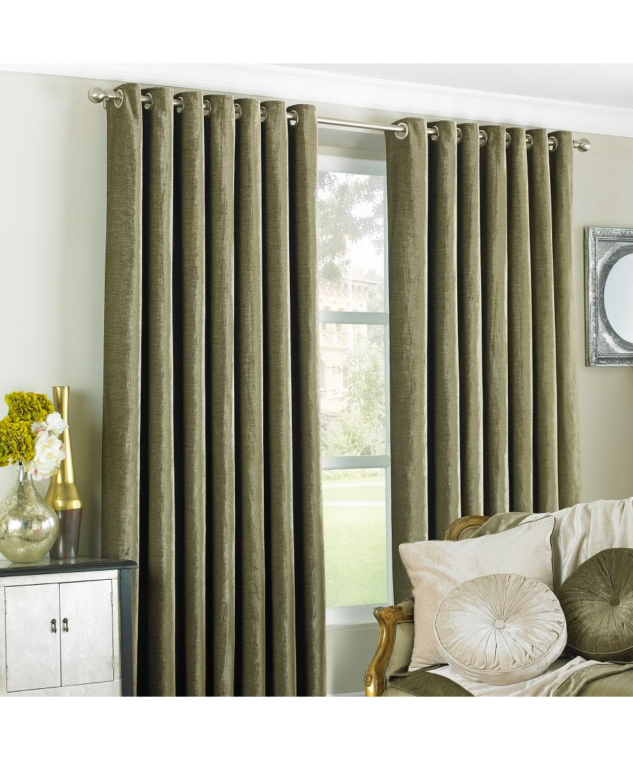 Image for Wellesley Velvet Feel Eyelet Curtains in Mocha
