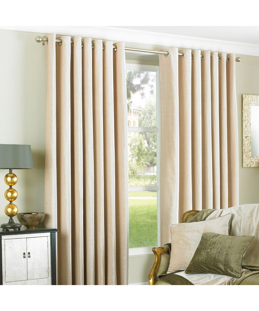 Image for Wellesley Velvet Feel Eyelet Curtains in Natural