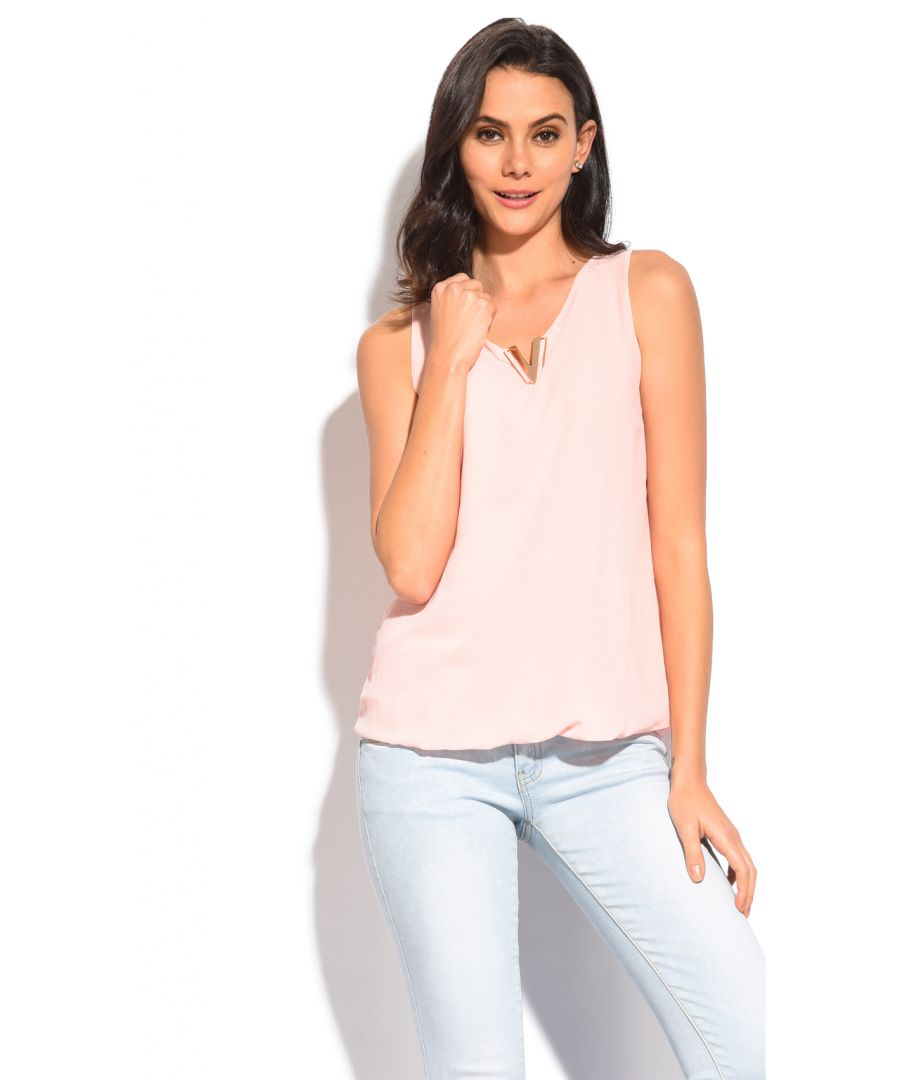 Image for V-neck top with accessorized collar and lining