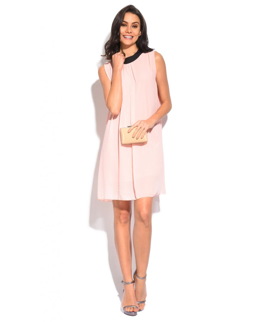Image for Lined short dress with round neck bi-color crew neck and opening in the back