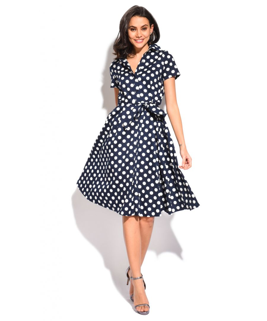Image for Long buttoned Dress with shirt collar and polka dots print