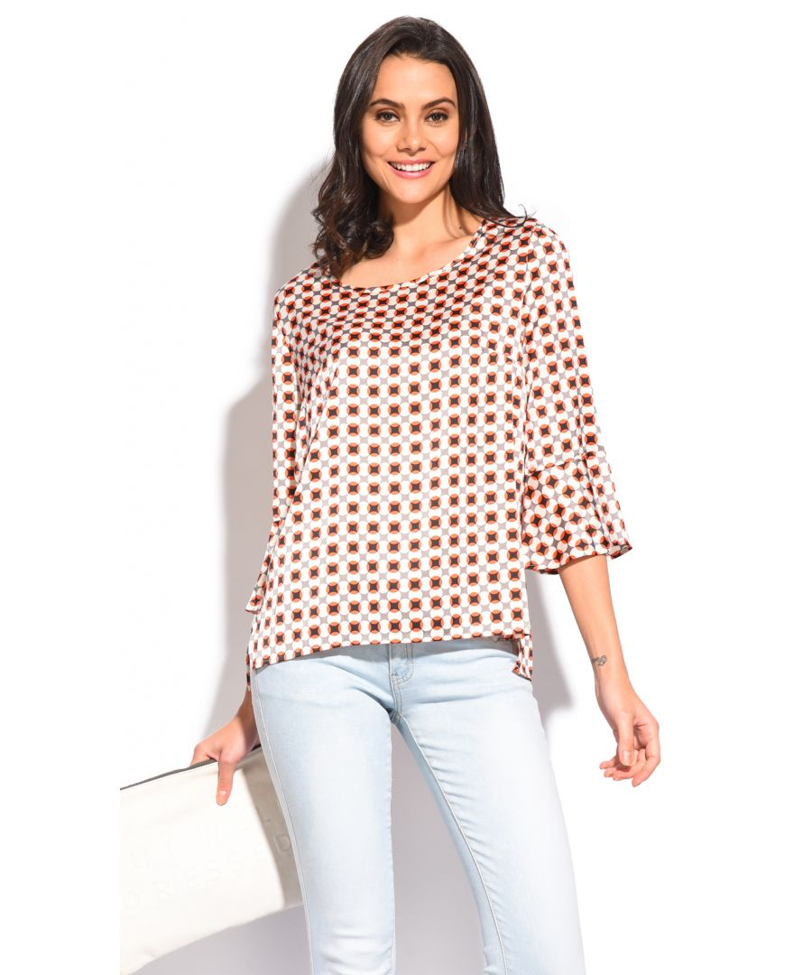 Image for Round collar Top with printed pattern and ruffled sleeves