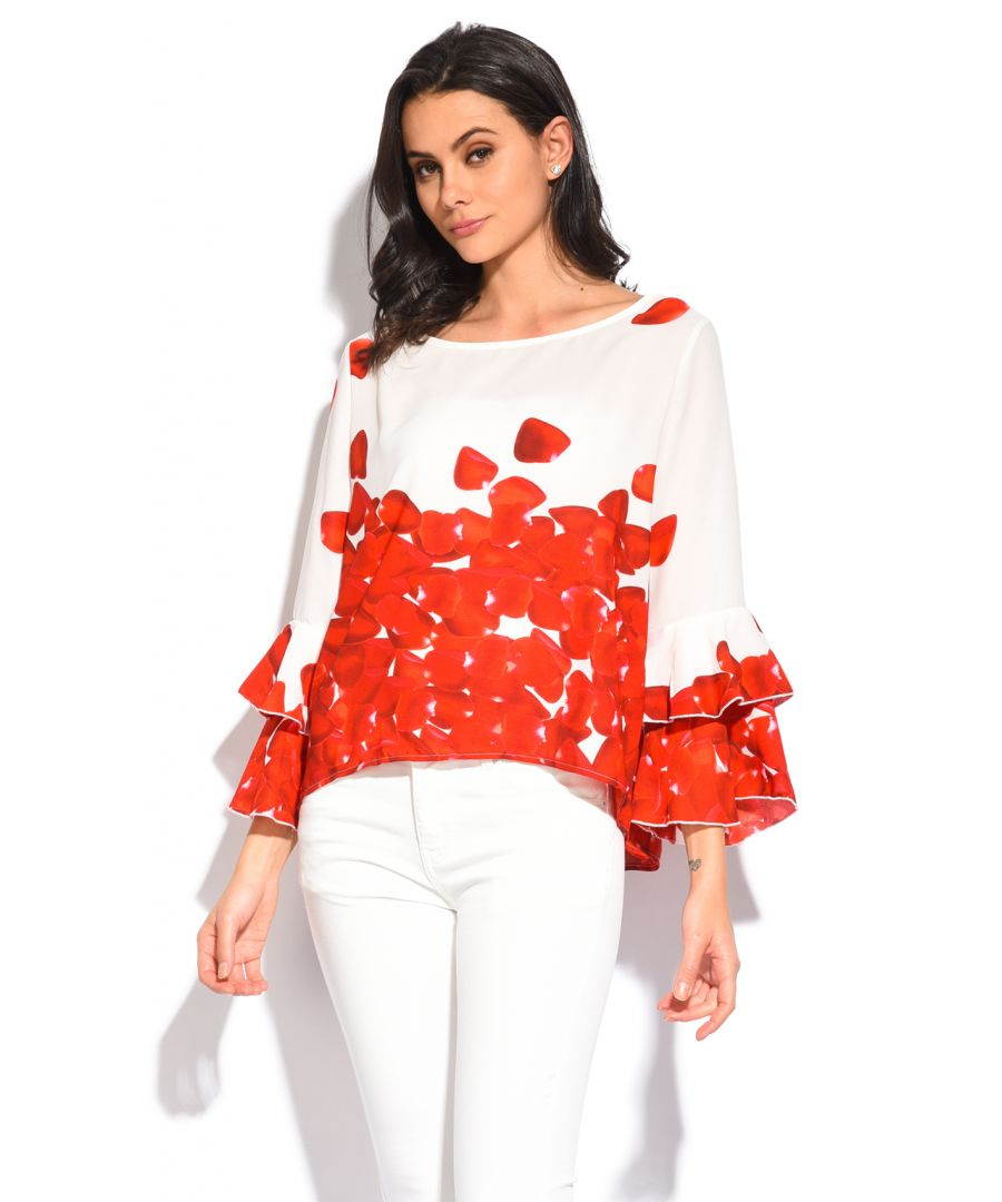 Image for Floral printed Top with ruffled sleeves