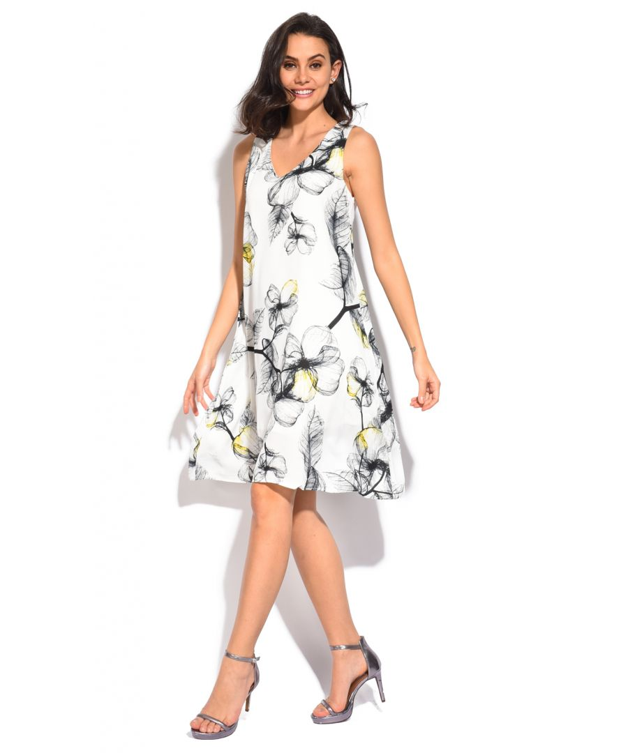 Image for Mid-lenght Dress with V-neck and bi-colors floral print