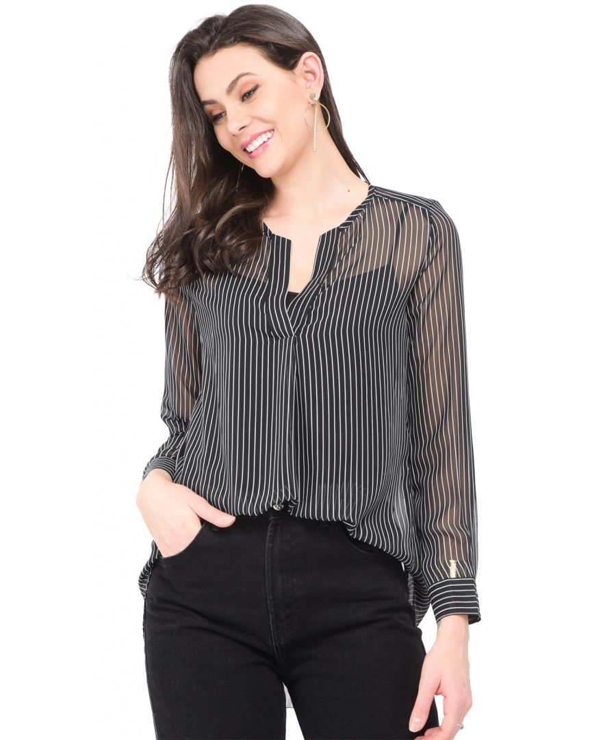 Image for Transparent Blouse with tunisian collar and vertical stripes