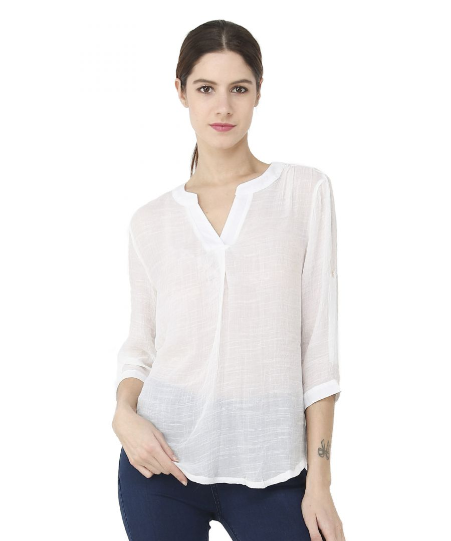 Image for William de Faye V-Neck Top with Accessorized Collar & Lining