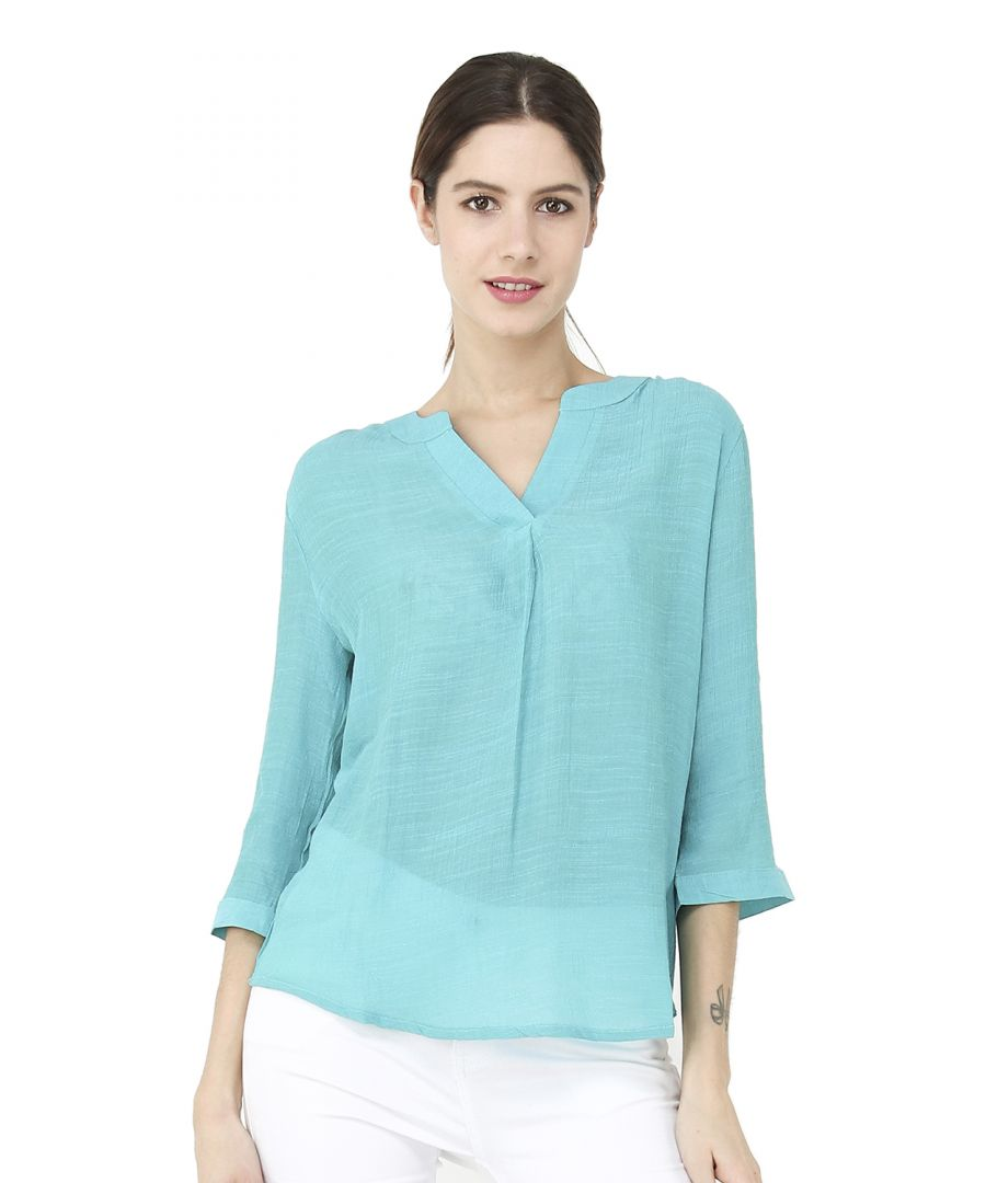 Image for Semi-transparent Top with tunisian collar and 3/4 sleeves