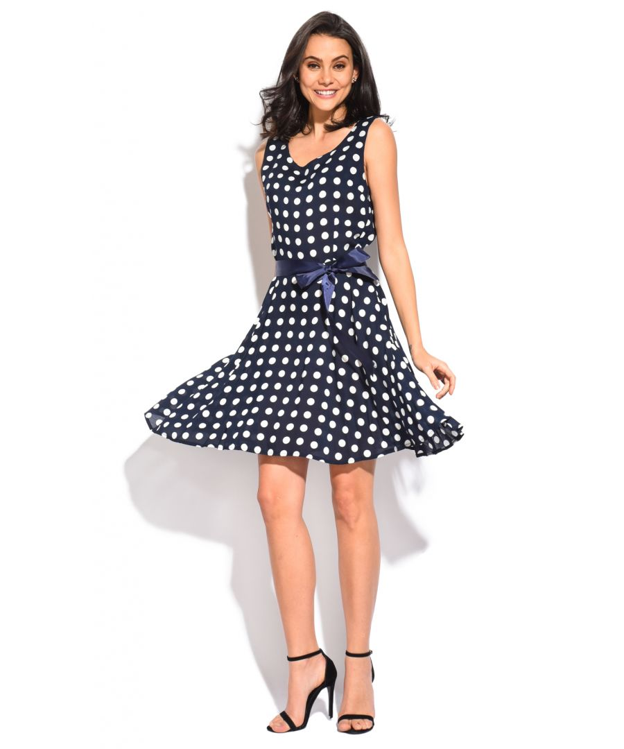 Image for Mid-lenght Dress with round neck and polka dots print