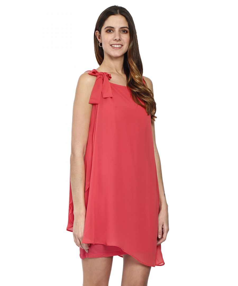 Image for Short sleeveless dress with bow in front