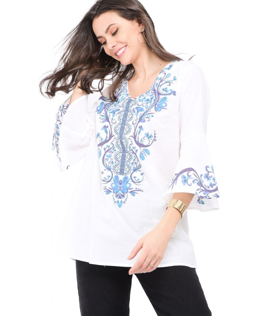 Image for Bi-colors printed Top with half ruffled sleeves
