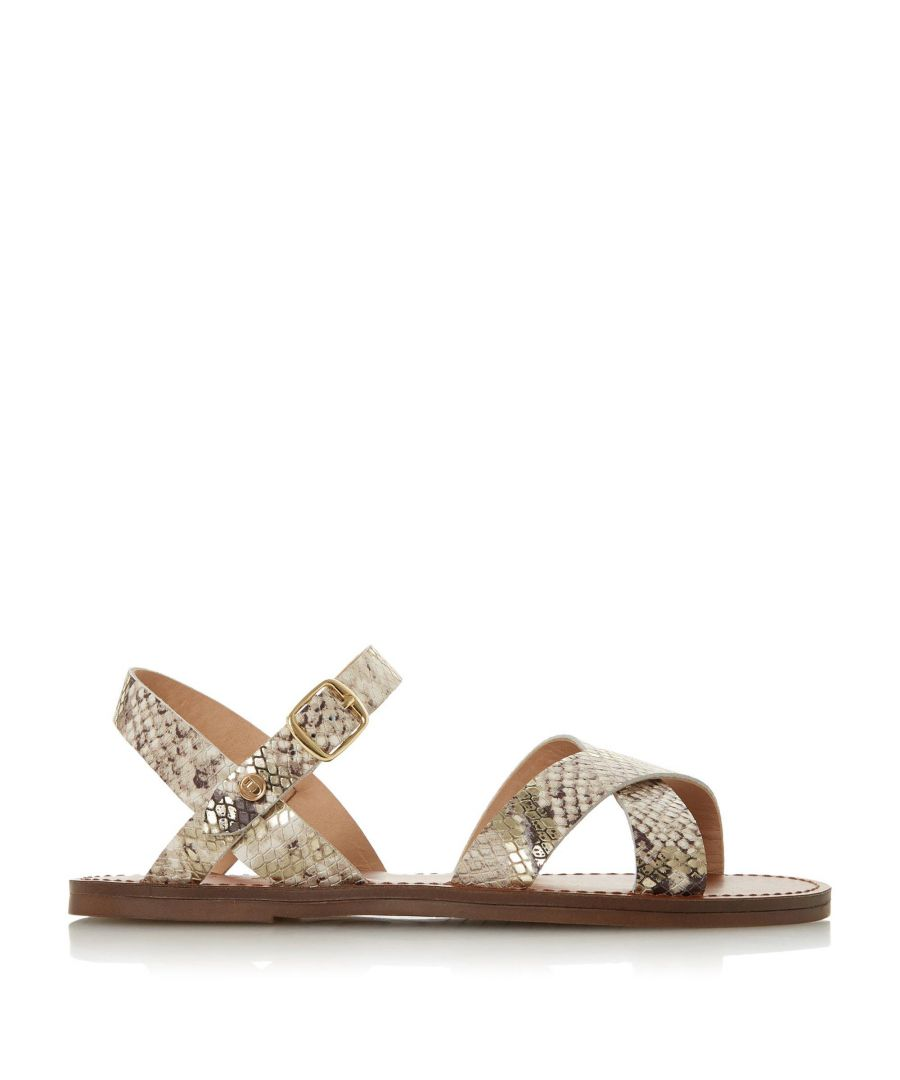 Image for Dune Ladies WF LAVELL Wide Fit Cross Strap Flat Sandals