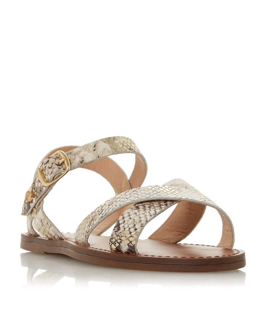 Image for Dune Ladies WF LAVELL Wide Fit Cross Strap Flat Sandal