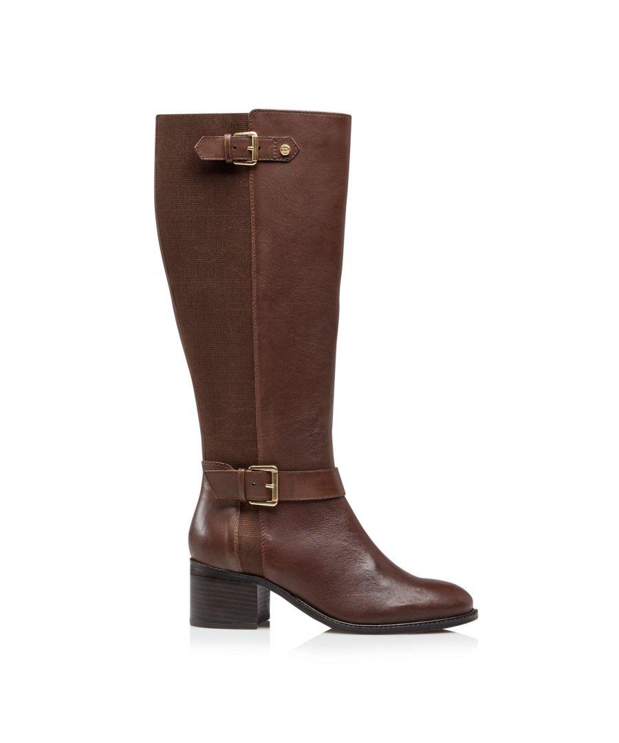 Image for Dune Ladies WF TILDAS Wide Fit Buckle Strap Detail High Leg Boots