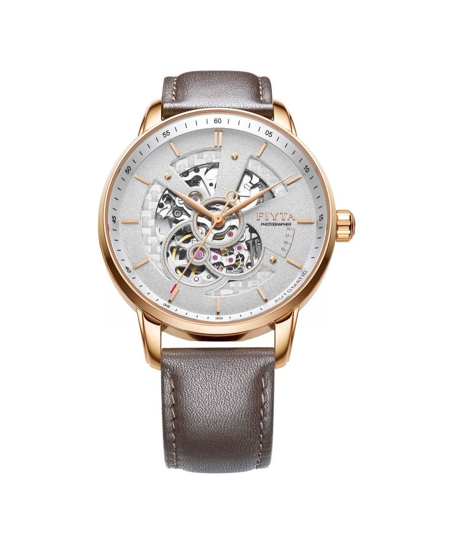 Image for Fiyta Mens Rose Gold  Automatic Skeleton Watch
