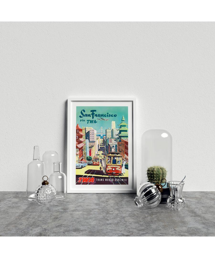 Image for Vintage Travel Poster TWA San Francisco - White frame