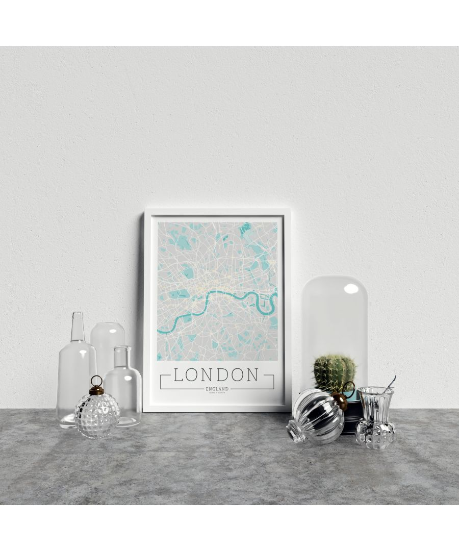 Image for City Location Ordnance Map Typography Blue London - White frame