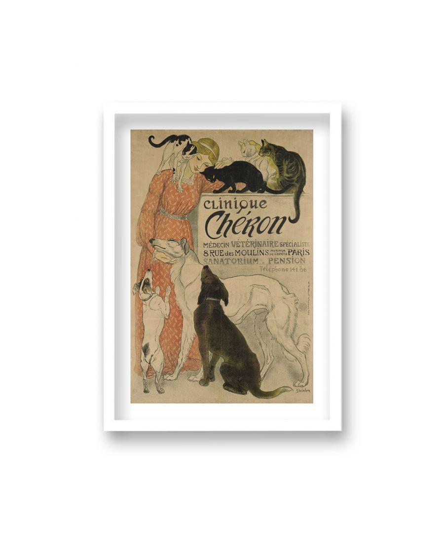 Image for Vintage Pet Hotel & Veterinarian Advertising Print Clinique Cheron - White Frame