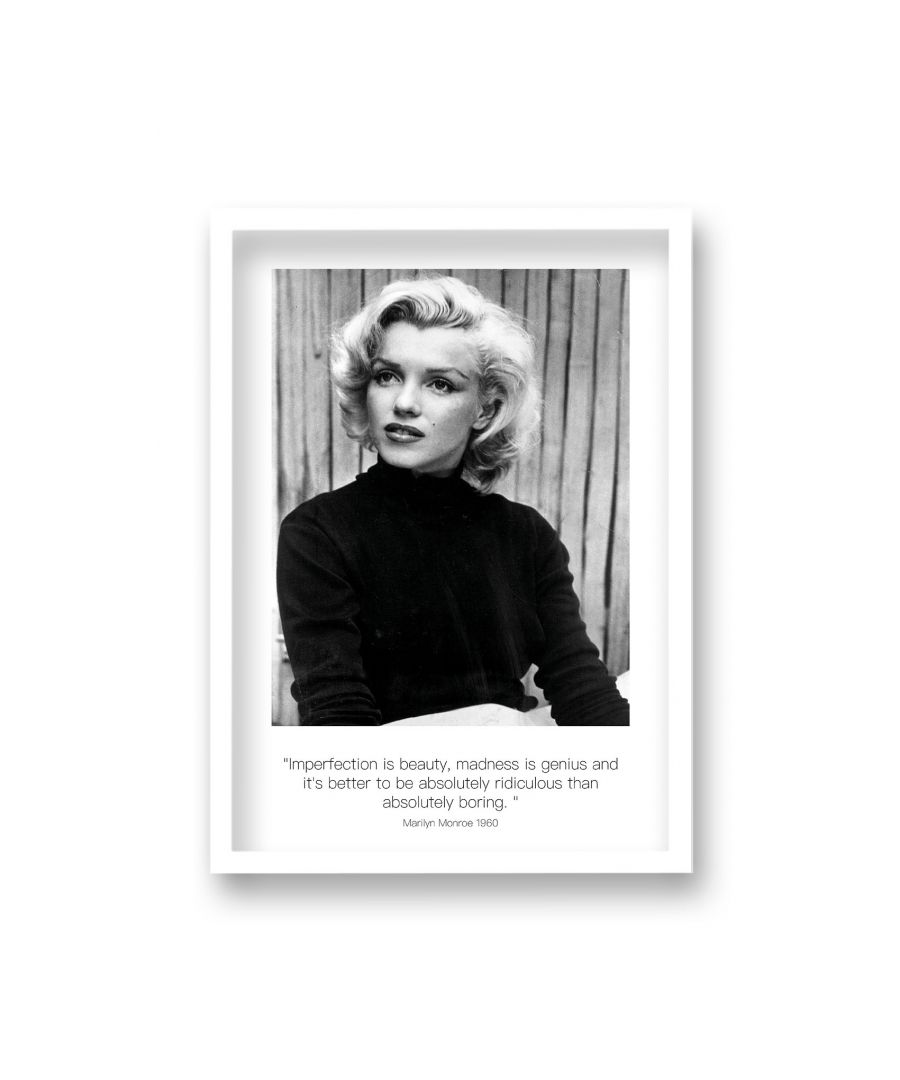 Image for Polaroid Style B&W Icon Print Marilyn Monroe Imperfection is Beauty Dated - White Frame