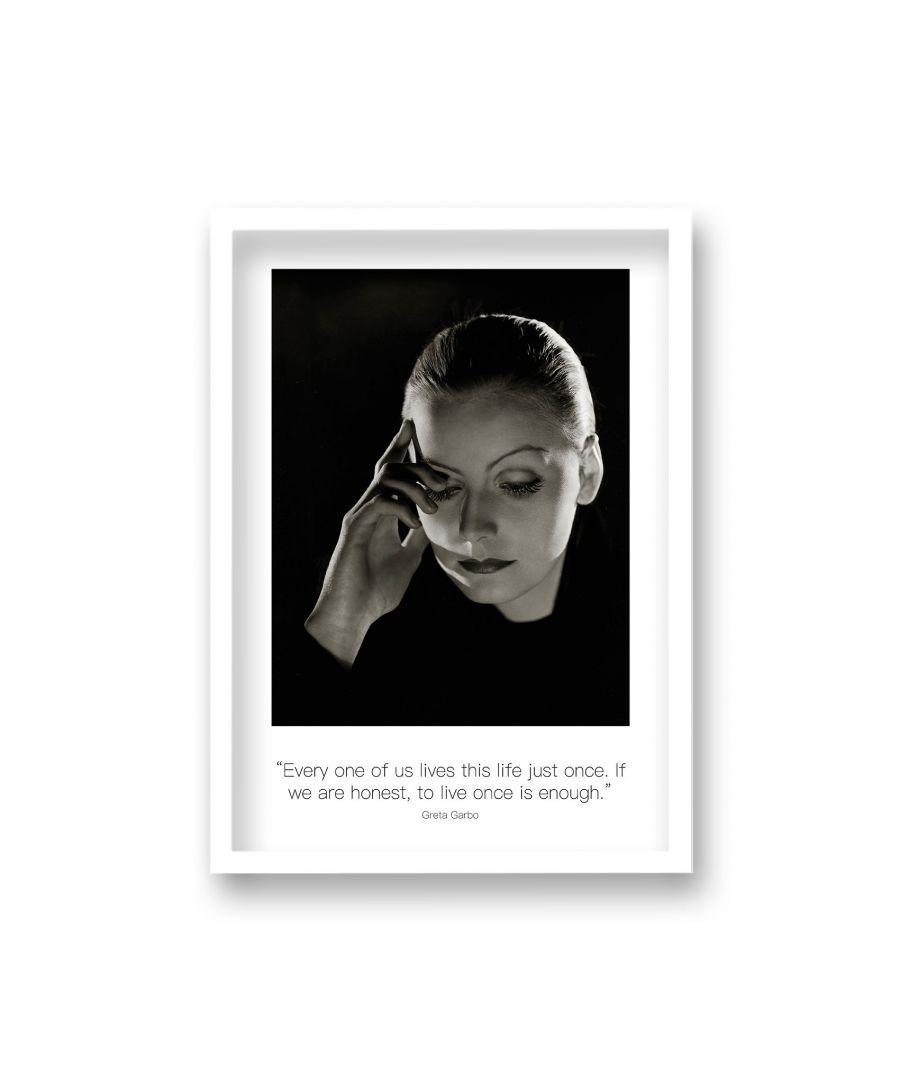 Image for Polaroid Style B&W Icon Print Greta Garbo Every One of Us Lives This Life Non Dated - White Frame