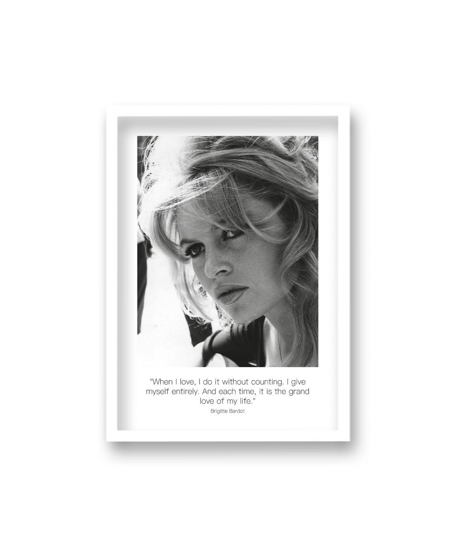 Image for Polaroid Style B&W Icon Print Brigitte Bardot When I Love I Do It Without Counting Non Dated - White Frame