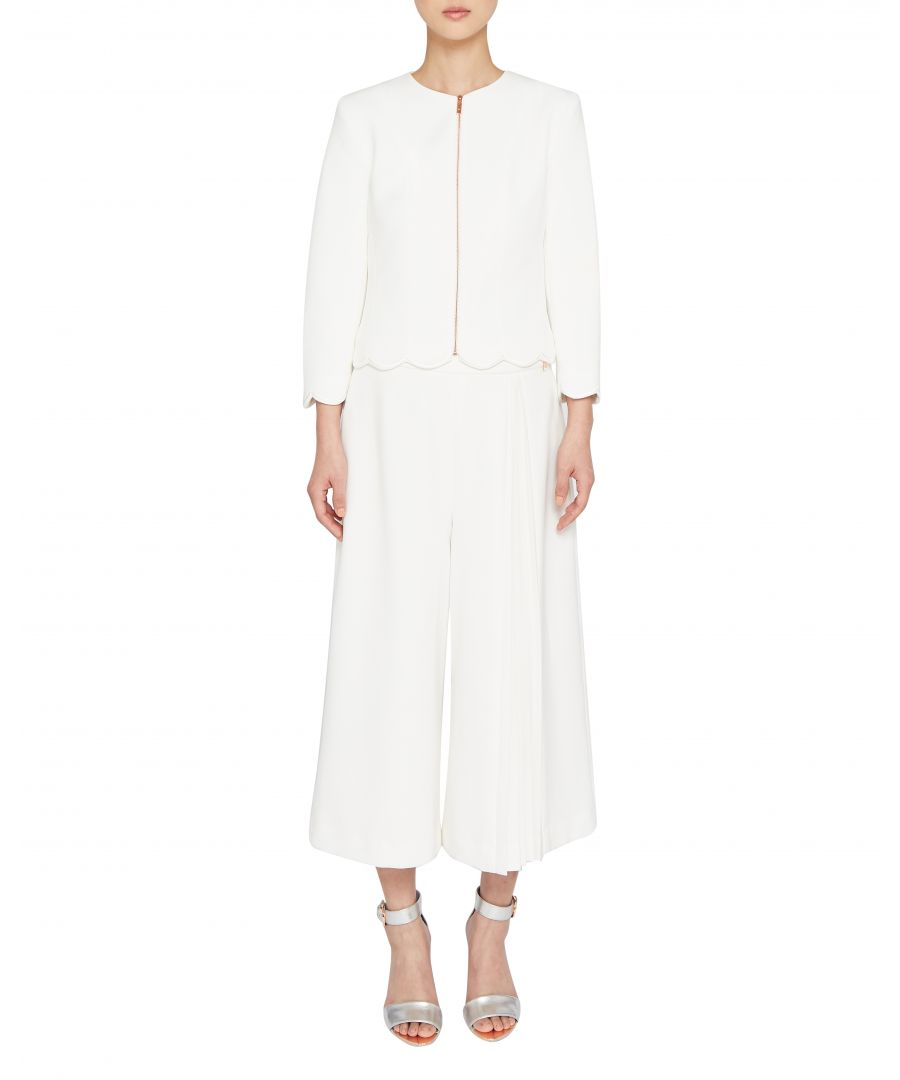 Image for Ted Baker Heraly Scallop Trim Cropped Jacket, White