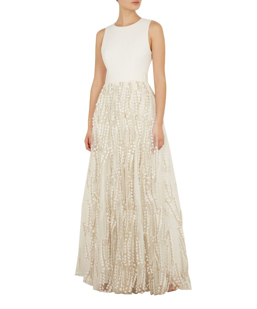 Image for Ted Baker Silvya Floral Embroidered Maxi Dress With Train, Ivory