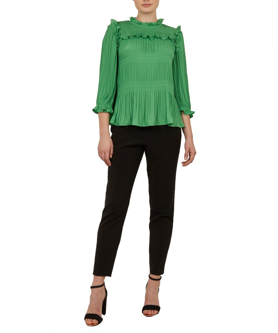 Image for Ted Baker Airlie Pleated Smocking High Neck Top, Bright Green
