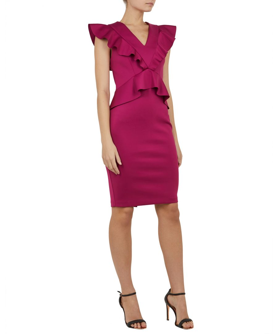 Image for Ted Baker Alair Ruffle Peplum Bodycon Dress, Deep Pink