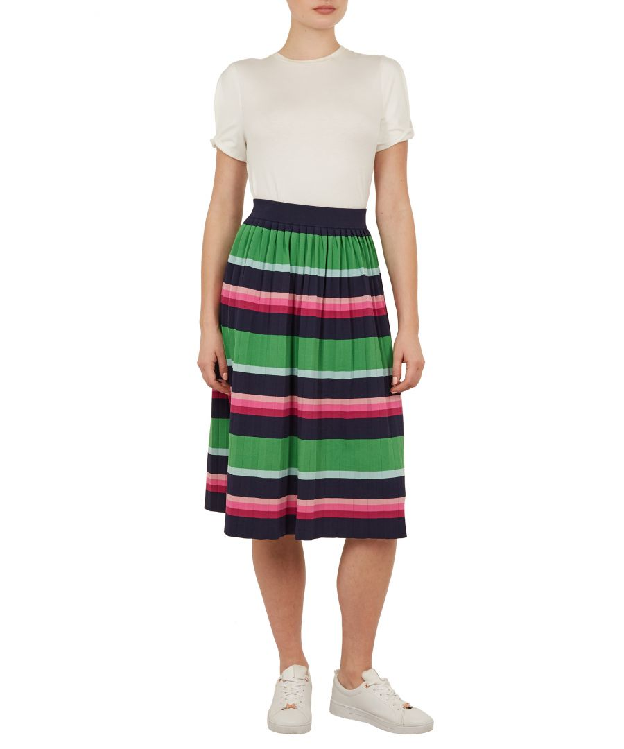 Image for Ted Baker Aliccio Supernatural Stripe Knit Skirt, Navy