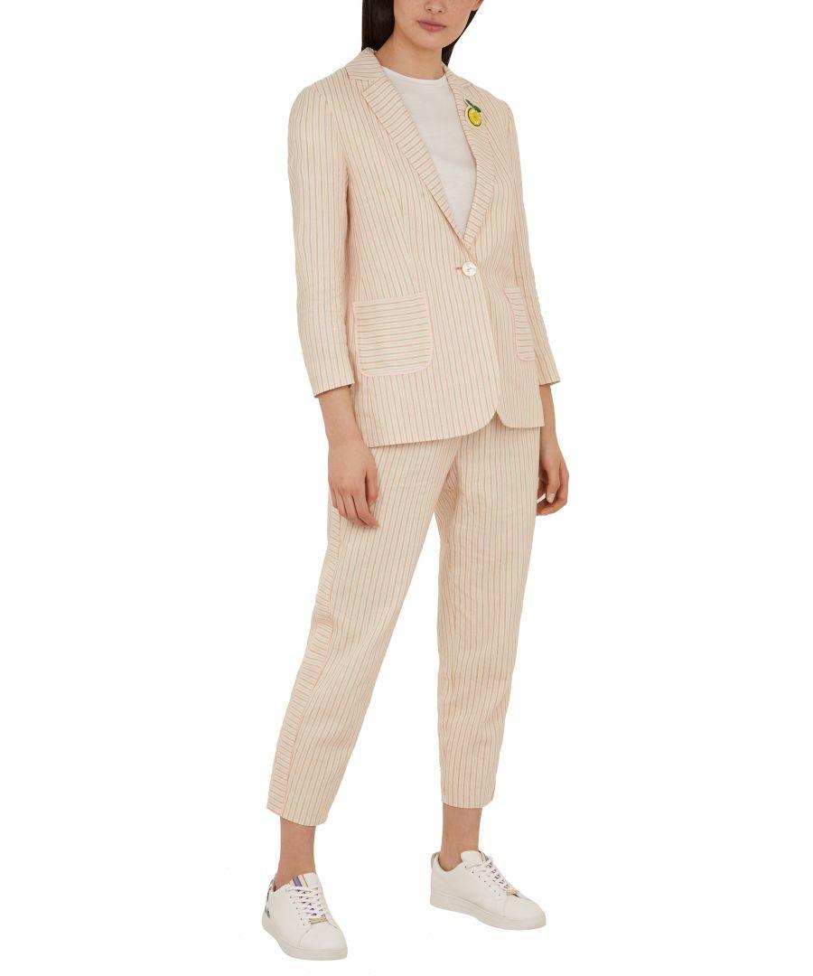 Image for Ted Baker Altaa Cbn Striped Linen Blazer, Ivory