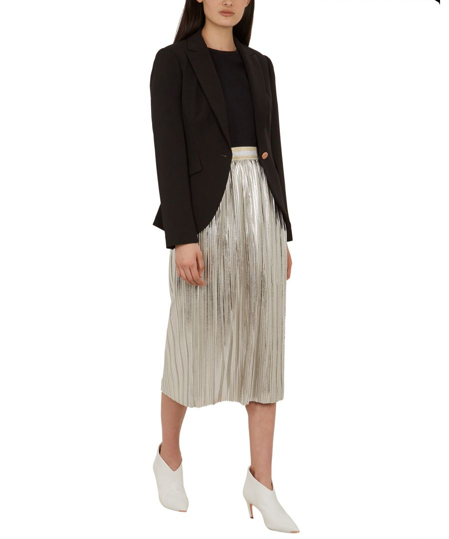 Image for Ted Baker Ariiana Metallic Pleated Midi Skirt, Light Grey