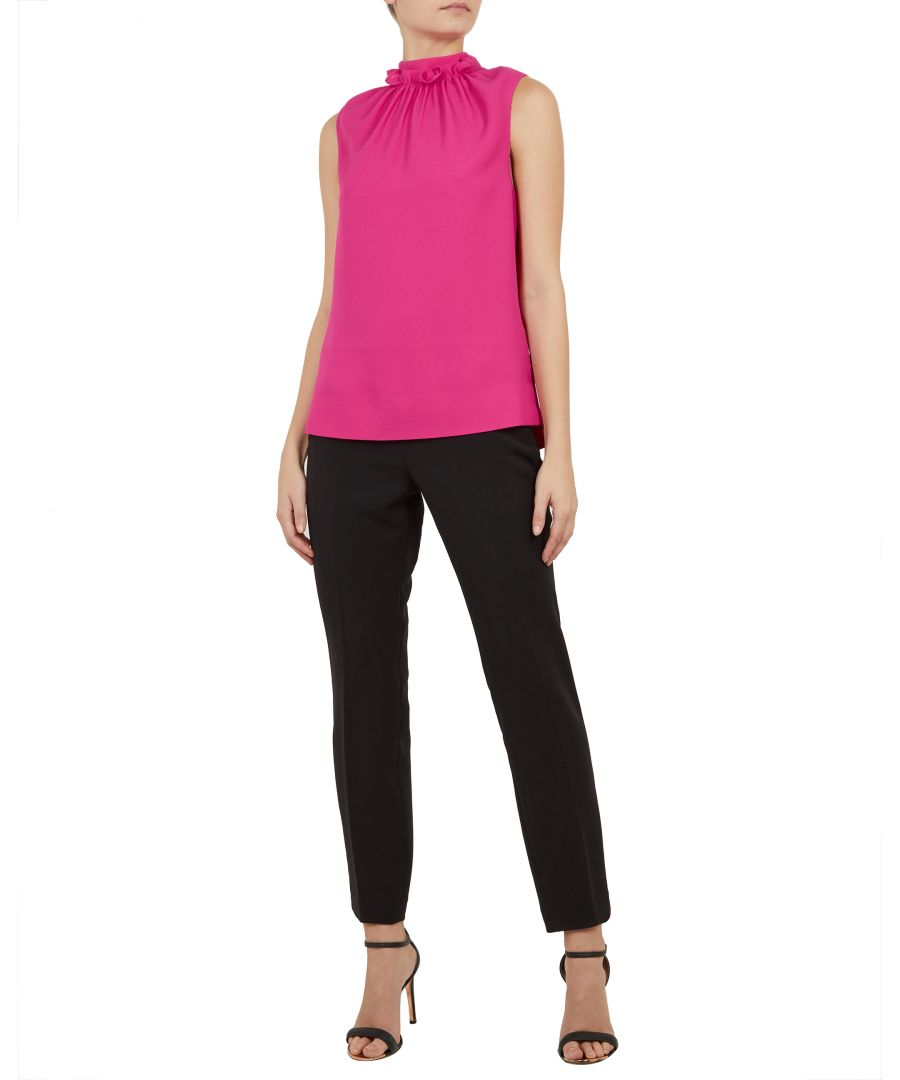 Image for Ted Baker Audrye Ruffle Neck Sleeveless Top, Mid Pink