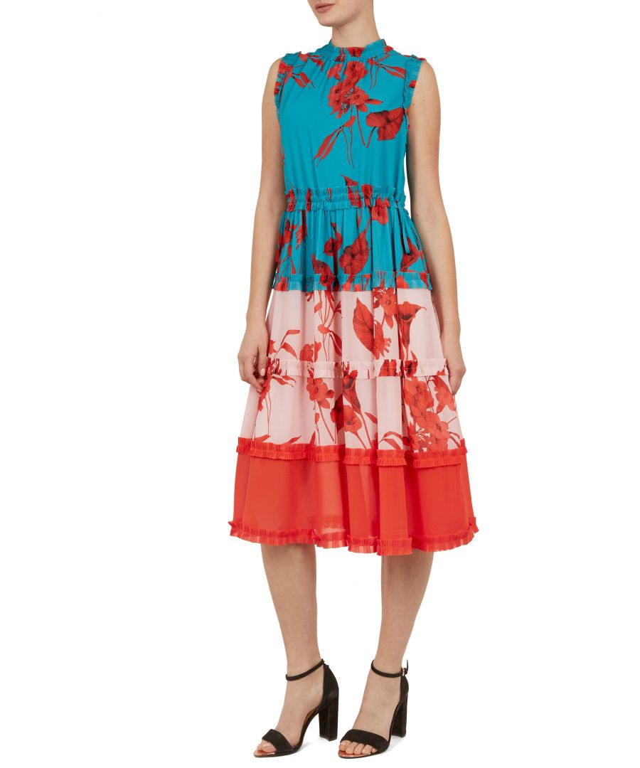 Image for Ted Baker Camelis Fantasia Tiered Midi Dress, Turquoise