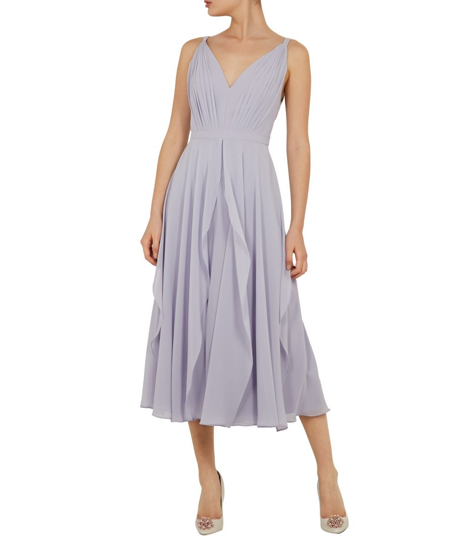 Image for Ted Baker Celeyst V Neck Georgette Midi Dres, Pale Blue