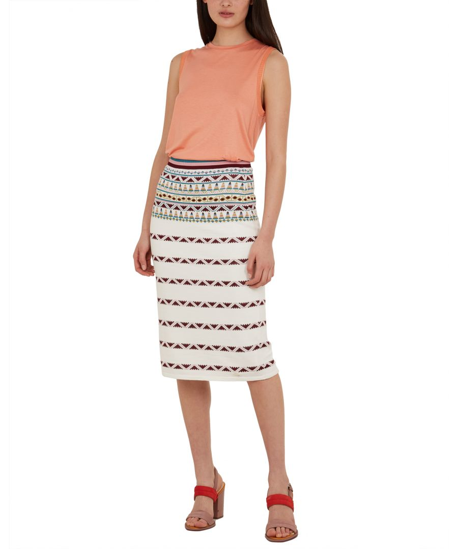 Image for Ted Baker Coari Cbn Aztec Knit Midi Skirt, Ivory