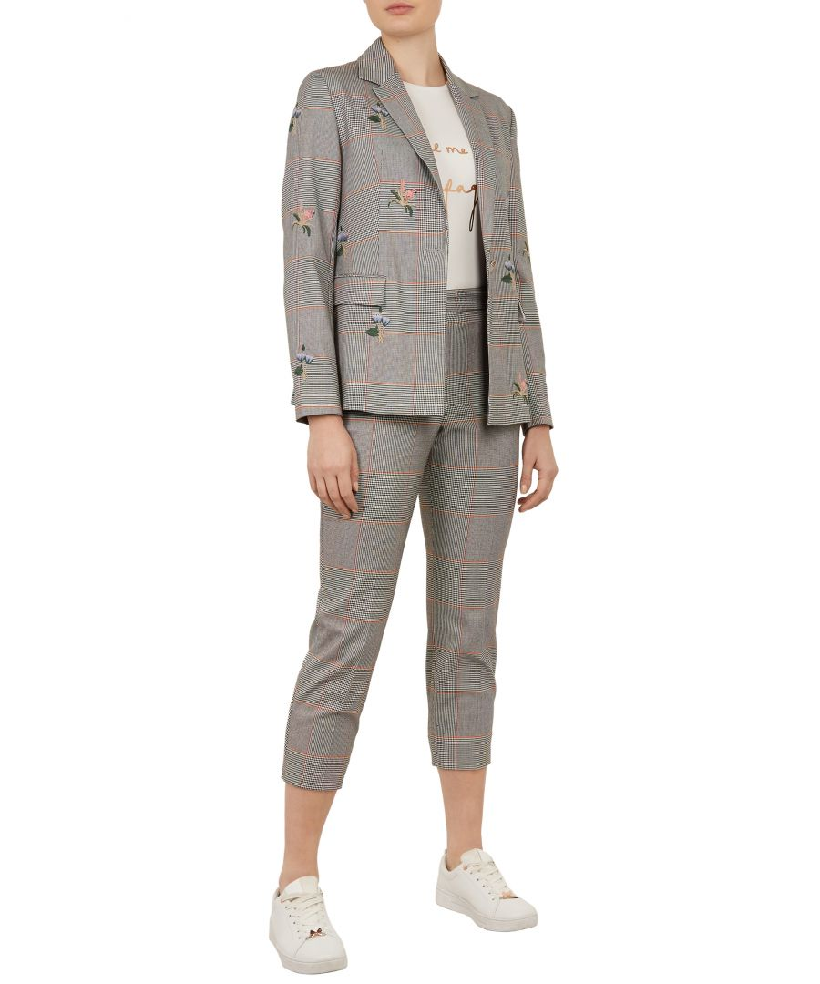 Image for Ted Baker Darceyt Embroidered Relaxed Trousers, Light Grey