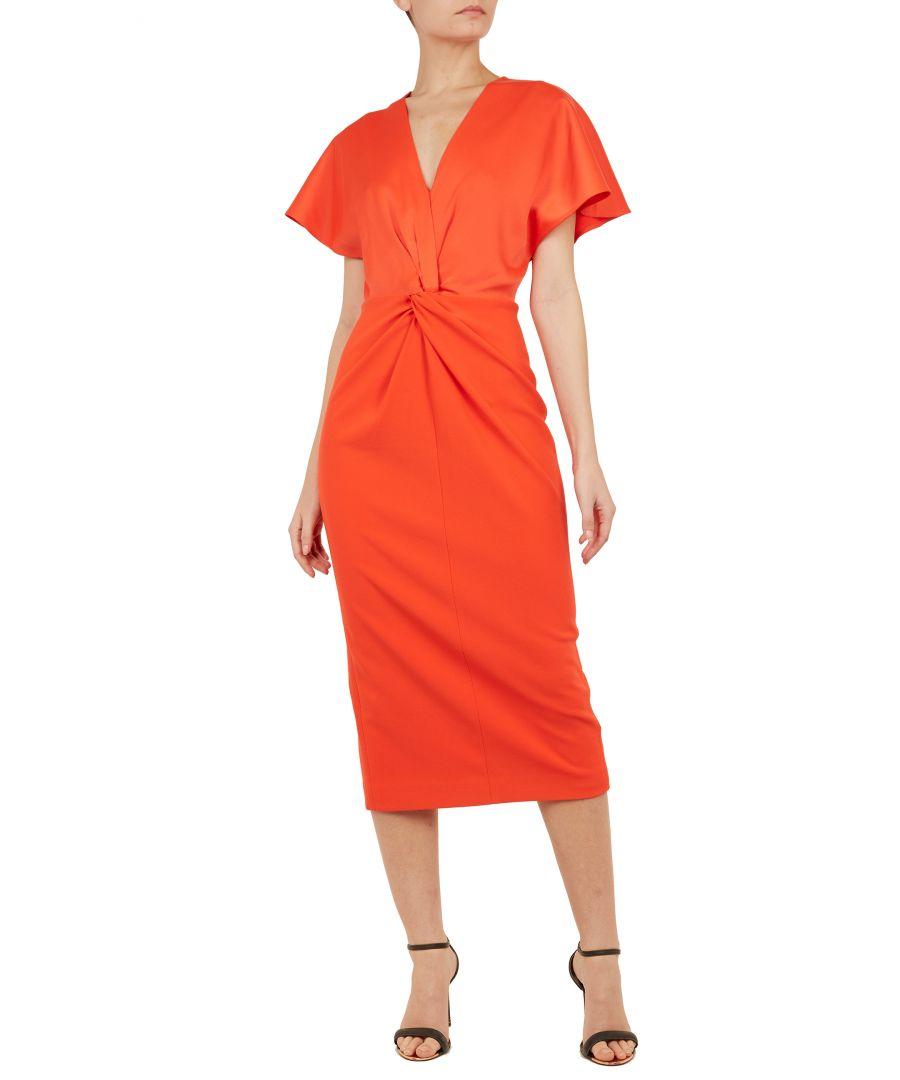 Image for Ted Baker Ellame Wrap Over Full Sleeve Bodycon Dress, Dark Orange