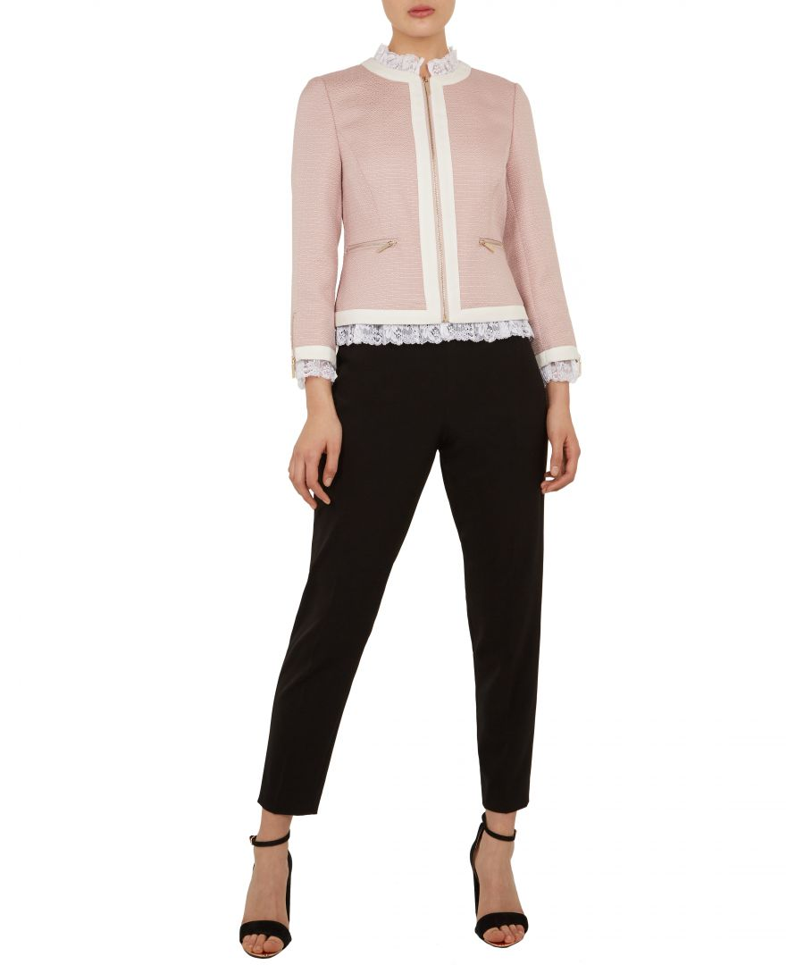 Image for Ted Baker Ennio Lace Trim Contrast Crop Jacket, Nude Pink