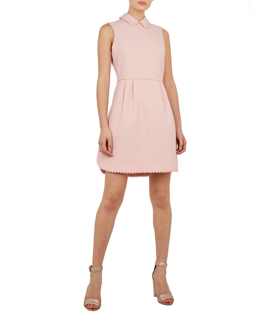 Image for Ted Baker Ezzy Curved Hem Scallop Detail Drs, Dusky Pink