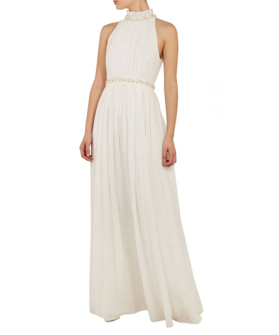 Image for Ted Baker Mayyha Ruched Neck Pearl Maxi Dress, White