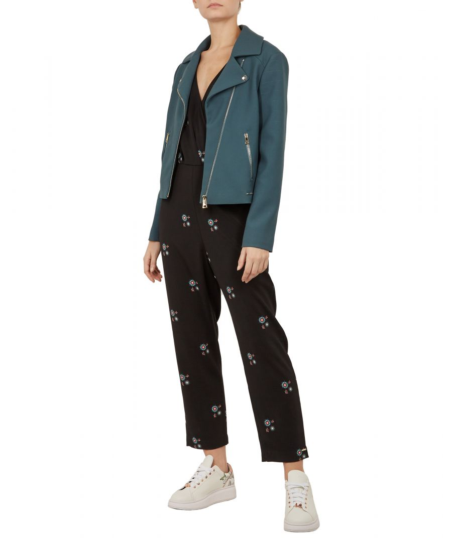 Image for Ted Baker Nisah Cbn Biker Jacket, Teal Blue
