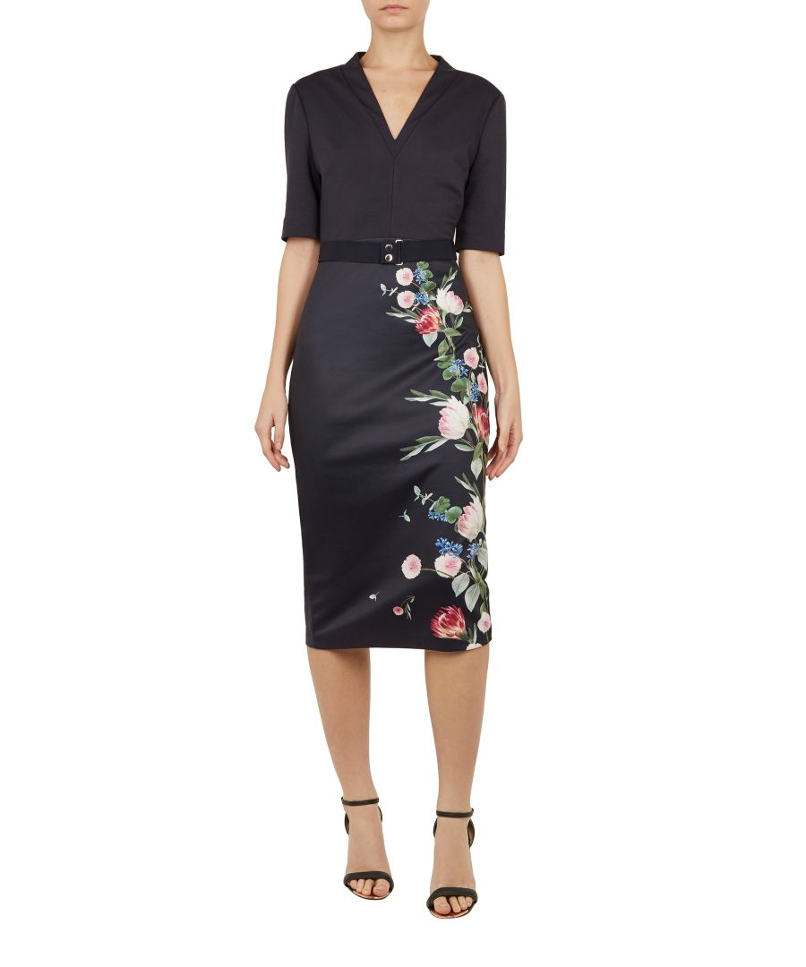 Image for Ted Baker Norraa Oracle V-Neck Bodycon Dress, Navy