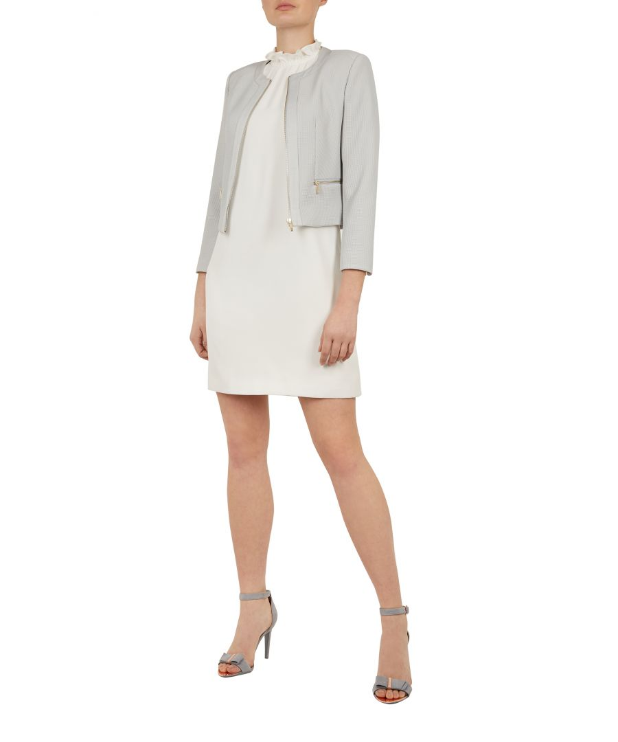 Image for Ted Baker Reemad Cropped Textured Jacket, Mid Grey