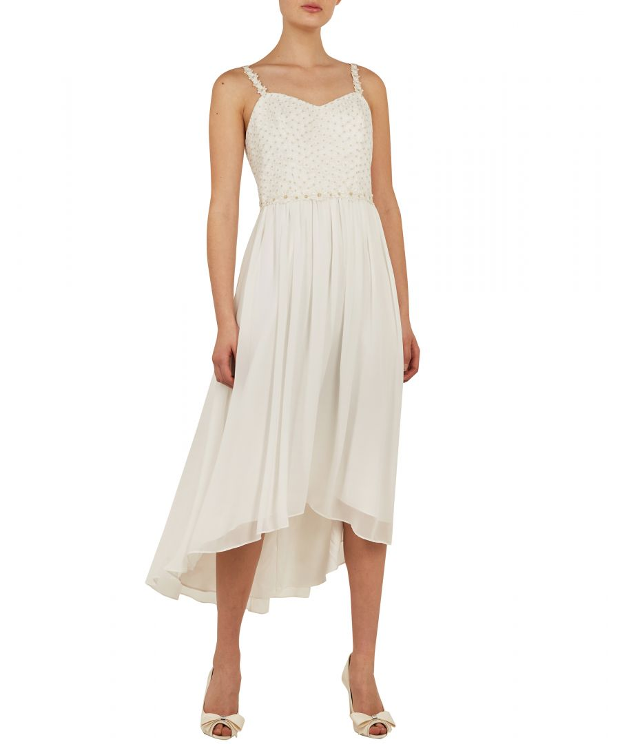 Image for Ted Baker Rosemry Daisy Dip Hem Pleat Midi Dress, White
